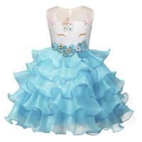 çiçek kız elbiseleri tasarla toptan satış-Kızlar Yeni Unicorn Elbise Grenadine Elbiseler Işlemeli Unicorn Karikatür Tasarım Çiçekler Tam Elbise Performans Elbise Yaz Kıyafetler 2-7 T