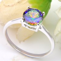 Luckyshine 10 PCS 1LOT Florid Shiny Round Fire Rainbow Mystic Topaz Gems 925 Sterling Silver Rings Weddiing Family Friend Holiday Gift Rings