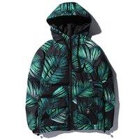 ingrosso lascia le piante-Winter Mens Plant Leaves stampato spesso con cappuccio Parka Hip Hop caldo casual Parka Giacche Streetwear Outwear