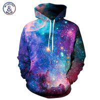 pares galaxia sudaderas al por mayor-Mr.1991INC Marca Hoodies Hombre / Mujer Space Galaxy 3D Sudadera con capucha de impresión Sudaderas con tapa Otoño Parejas Hoody Tops moletom S18101703