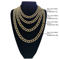Wholesale diamond cuban link - Full Diamond Cuban Necklace 18inch 20inch 24inch 30inch Bling Jewelry Necklace for Men Iced Out Miami Curb Cuban Link Chain