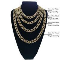 Wholesale 14k curb chain - Full Diamond Cuban Necklace 18inch 20inch 24inch 30inch Bling Jewelry Necklace for Men Iced Out Miami Curb Cuban Link Chain