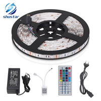 Wholesale 24v Neon - SMD 5050 RGB LED Strip Waterproof 5M 300LED DC 12V LED Light Strips Flexible Neon Tape Luz With 5A Power And 44Key Remote