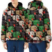 naylon kış ceketleri toptan satış-Erkek Naylon Rüzgarlık Ceket Ayrılabilir Kapşonlu Baskılı Çok Panter Yüz Tam Fermuarlı Kabanlar Adam Kış Giymek