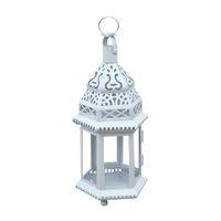 lustres en verre de fer achat en gros de-Européenne Chandelier En Métal Lanterne De Fer Décor De Mariage Blanc Bougeoir Décor À La Maison Marocaine Rétro Maison GLass Chandeliers