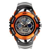 ingrosso ragazzi orologio arancione-Orologio da polso impermeabile analogico digitale marca bambino ragazzo orologio sportivo SKMEi