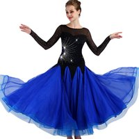 königsblauer bauchtanzrock großhandel-Ballroom Competition Dance Kleider Frauen 2018 Neues Design Elegantes Flamenco Tanzrock Royal Blue Standard Ballsaal Kleid