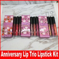 Wholesale mary pearl - ANNIVERSARY LIP TRIO Lip Gloss 3 Pack Set Pearl Glossy Lip Gloss matte lipstick Set posie k koko k mary jo k
