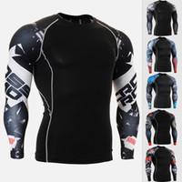 yüksek kaliteli erkekler spor gömlekleri toptan satış-Yüksek Kaliteli Erkek Sıkıştırma Gömlek Nefes Spor Gömlek Erkekler Gym Top Koşu T Erkekler Elastik Spor Tshirt