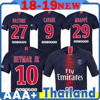 Wholesale soccer baseball - 18 Home Blue Paris Saint Germain soccer Jersey Verratti Cavani NEYMAR JR DI MARIA Mbappe T SILVA LUCAS MULLER Football uniforms