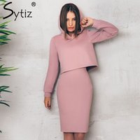 Wholesale long sweater pencil skirt - Sytiz Pink Suede Hooded Sets Solid Sweater Two Piece Sets High Waist Pencil Skirt 2017 Autumn Long Sleeve Casual Women's
