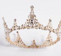 coroas redondas para noivas venda por atacado-Rainha do palácio artesanal Europeu enfeites de noiva barroca rodada todo o edifício da coroa.