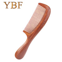 Wholesale Red Hairbrush - YBF Authentic Bridal Wedding Party makeup brushes Quality Handmade professional Red sandalwood wooden hair combs hairbrushes