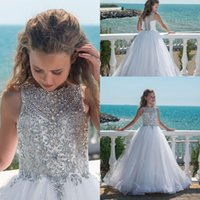 Wholesale Silver Pageant Dresses - 2018 Bling Beaded Crystal Girls Pageant Dresses Tulle Floor Length Beach Flower Girl Dresses for Weddings Custom Made