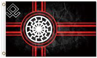 Wholesale black sun flag - Digital printing custom 3x5ft Black Sun Flag 90x150cm Polyester Kolovrat Slavic Symbol Sun Wheel Svarog Solstice Runes Banner