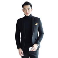 material do terno dos homens venda por atacado-17 anos de outono e inverno novo material high-end coreano Slim paletó uma fivela britânica moda homens de negócios terno casual