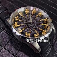 yuvarlak arama analog saat toptan satış-Yeni Excalibur 45 RDDBEX0511 Çelik Kasa Yuvarlak Masa Siyah Emaye Dial 18 K Sarı Altın Şövalyeleri Otomatik Mens İzle Siyah Leathe B42c3