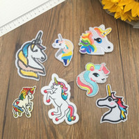 Wholesale assorted wholesale clothes - Newest Unicorn Patches Motif Applique Assorted Size Sew on Iron on Patch Embroidered Styles Support FBA Drop Shipping H479Q