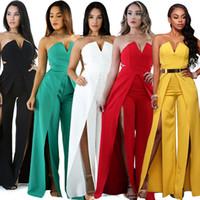 gelber schwarzer sexy overall großhandel-sexy schlitz club wear bodysuits strampler trägerlosen schatz overall für frauen weiß schwarz rot grün gelb overall anzug kleid tragen
