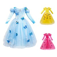 Wholesale Lace Mid Calf Wedding Dress - carnival Christmas kids Girls dress Cosplay Princess dresses Puff Long sleeve Butterfly Party birthday wedding dress blue pink yellow