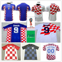 1998 Classic Vintage Croatiaes Soccer Jerseys Home Away Blue White 9 Suker  10 BOBAN BILIC MODRIC Hrvatska HNS National Custom Football Shirt 1e7c84daf
