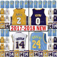 Wholesale Embroidery Football Jerseys - 2017-18 New Youth Men's 2 Lonzo Ball 0 Kyle Kuzma 24 Jersey Kid's 2018 Kobe14 Brandon Ingram Bryant Blue Jerseys Adult Embroidery