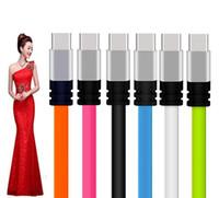 cordon de nouilles pour micro achat en gros de-2A Type c micro usb câble plat alliage de nouilles métal 1m 3ft rapide charge câbles de données usb cordon pour samsung s6 s7 s8 htc téléphone Android 7 8 x