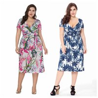 Wholesale Tropical Party Dresses - Party Faux Wrap Vintage Dress For Heavy Women Plus Size Plunging Neckline Tropical Tea Length Swing Dresses XL-6XL 0011