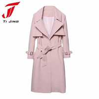 Wholesale Trench Coat For Women Pink - New Korean Trench Coat for Woman 2017 Spring Autumn Fashion Pink Turn down Collar Breasted Waistband Windbreaker Coat B5488
