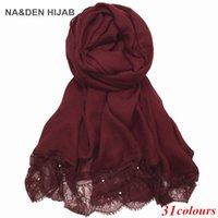 Wholesale Lace Scarf Wholesale - Luxury Lace edges scarf pearls new design plain lace shawl cotton viscose muslim scarves hijabs fashion beads scarf Eid gifts