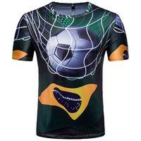 jersey de talla grande al por mayor-Brasil 3D Impreso Equipo de Fútbol Camisetas de Manga Corta Casual Hombres Copa del Mundo Camisetas de Fútbol Jersey Más Tamaño M-2XL