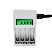 Wholesale charger nimh nicd - 4 Slots LCD Display EU US Intelligent Battery Charger For AA   AAA NiCd NiMh Rechargeable Batteries