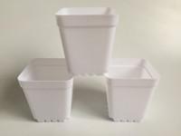 Wholesale mini nursery pots resale online - 100Pcs cheap Mini Nursery Pots White Plastic Planters Square Succulents Pots Small flower planters SF B