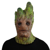 Wholesale cosplay women costumes for sale - Groot Cosplay Mask Treeman Green Latex Full Face Horror Mask Halloween Costume Mask Costume Masks Festival Supplies OOA5638