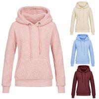 xxl peluş toptan satış-Kış Kadın Giysileri Ile Caps Moda Lüks Sıcak Boş Tutmak Kazak Yumuşak Peluş Lady Giyim Yüksek Kalite 29my Ww