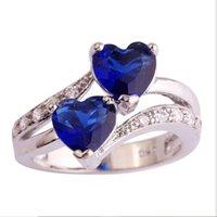 basit çift halka toptan satış-Tasarımcı takı yüzükler kadınlar için çift mavi kalp yüzükler basit toptan sıcak moda nakliye ücretsiz