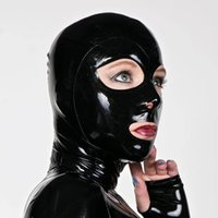 Wholesale latex rubber costume resale online - 100 Pure Latex Hoods Open Mouth Nose and Eyes Handmade Rubber Mask Cosplay Club Party Wear Costume