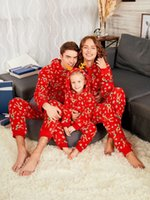 mono de navidad adulto al por mayor-Ropa familiar a juego de navidad con capucha pijamas rojos reno geométrico niños mameluco mono adulto mono trajes ropa de navidad
