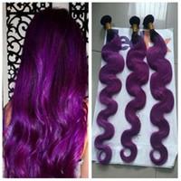 12 zoll lila haare großhandel-Brasilianische Körperwelle Haarbündel Menschliches Haar Zwei Ton 1b Lila Ombre Haarverlängerungen 10-28 Zoll Lila Brasilianisches Ombre