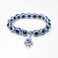 brazaletes turcos al por mayor-Comercio al por mayor Lucky Fatima Hamsa mano azul del ojo malvado encantos pulseras brazaletes granos turcos pulseras para mujeres 2018 nueva joyería KKA2009
