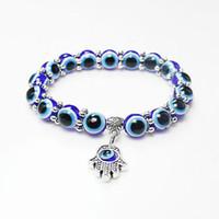 hamsa hände perlen großhandel-Großhandel Glück Fatima Hamsa Hand Blau Evil Eye Charms Armbänder Armreifen Perlen Türkische Pulseras Für Frauen 2018 Neue Schmuck KKA2009