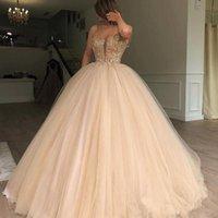 vestidos de noite macios venda por atacado-Lindo Fofo Bola Vestidos Prom Dresses Sexy Spaghetti Beads Sequins Tulle Vestido Dubai celebridade Vestidos Vestido Quinceanera