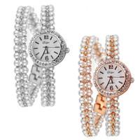 lady korea watch 2018 - 1 PC Korea Luxury Brand Pearls Bracelet Watch Women Female Ladies Dress Fashion Quartz Wristwatch