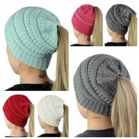 Wholesale hat online - Ponytail Beanie Hat Colors Women Crochet Knit Cap Winter Skullies Beanies Warm Caps Female Knitted Stylish Hats OOA5244