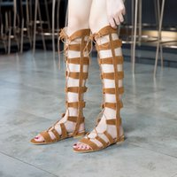 Wholesale Shoes Over Knee - Sweet Female cross tied open toe sandals lady over the knee long boots women lace up shoes flats heels cool thigh boots