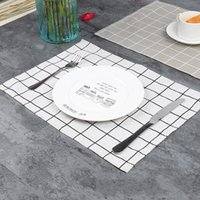 Wholesale square melamine - Mat Fresh Lattice Cotton Linen Fabric Art Fashion Simple Printing Teapot Pad Coasters Heat Insulation Artificial Weaving 2 8qc V