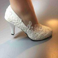 weiße high heels größe 11 großhandel-Handmade Damen Mode Weißes Band Hochzeit Schuhe Ferse Ballett Spitze Blume Braut Brautjungfer Schuhe Größe EU 35-42