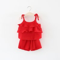 Wholesale korean chiffon pants - 2018 INS Europe and American New Arrival Korean Children's Clothing Set Chiffon Cake Sling and Short Pants Suit High Quality Cotton Set