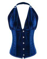 corset dos lingerie achat en gros de-Tissu velours de haute qualité avec corset bleu profond avec fermeture à lacets sur le devant pour un meilleur maintien Sexy Lingerie C8454