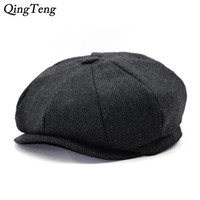 Wholesale Dropshipping Hats - Octagon Herringbone Newsboy Cap Vintage Men Cotton Beret Casual Newsboy Hats Cabbie Cap For Women Flat Hat Dropshipping